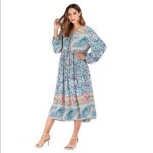 Bohemian Blue Loose Floral Print Midi Dress